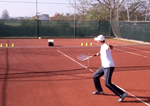 ball machine tennis drill - backhand volley placement
