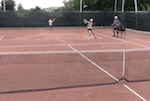 video tennis drill - short wide around the cone