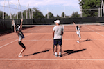 video serve tennis drill - one up one back