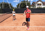 tennis tip - elbows out in front